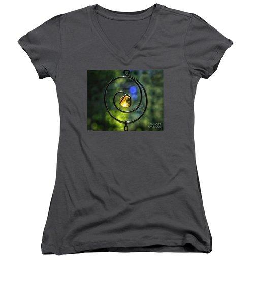 Women's V-Neck T-Shirt (Junior Cut) featuring the photograph Catch Fire  by Mitch Shindelbower