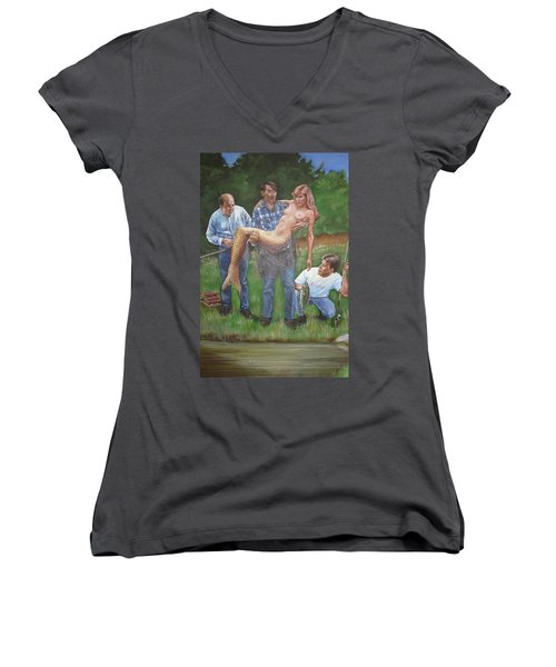 Catch Of The Day Women's V-Neck T-Shirt (Junior Cut) by Bryan Bustard