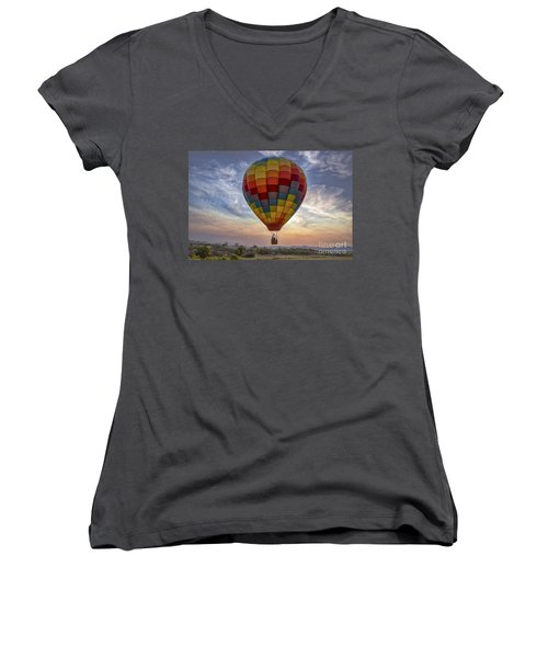 Women's V-Neck T-Shirt (Junior Cut) featuring the photograph Catch The Breeze by Mitch Shindelbower
