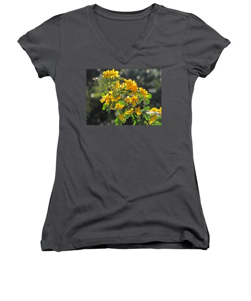 Catchlight Bee Over Yellow Blooms Women's V-Neck