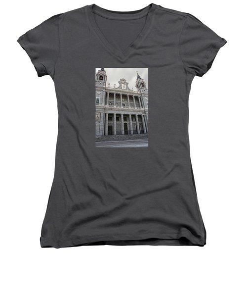 Catedral De La Almudena 2 Women's V-Neck T-Shirt (Junior Cut) by Angel Jesus De la Fuente