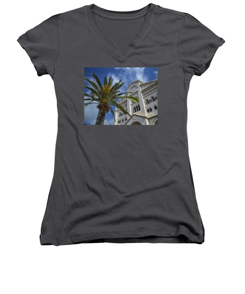 Women's V-Neck T-Shirt (Junior Cut) featuring the photograph Cathedral At Monte Carlo by Allen Sheffield