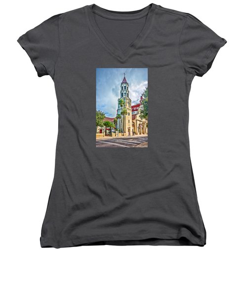 Women's V-Neck T-Shirt (Junior Cut) featuring the photograph Cathedral Basilica by Anthony Baatz