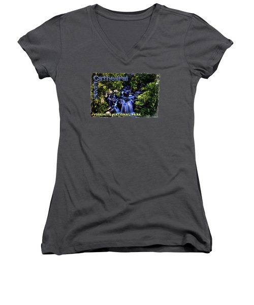 Cathedral Creek Cascade On The Tioga Pass Women's V-Neck (Athletic Fit)