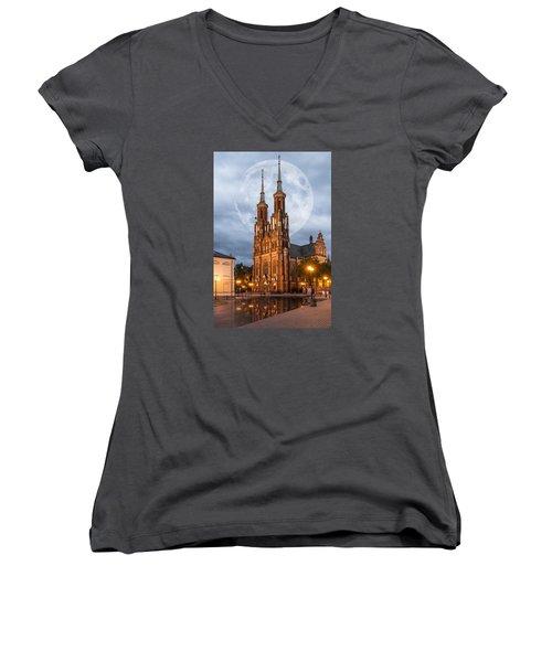 Cathedral Women's V-Neck T-Shirt (Junior Cut) by Jaroslaw Grudzinski
