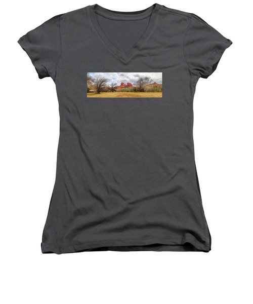 Women's V-Neck T-Shirt featuring the photograph Cathedral Rock Panorama by James Eddy