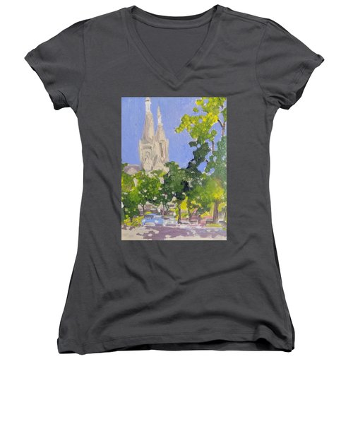 Cathedral Women's V-Neck T-Shirt (Junior Cut) by Rodger Ellingson