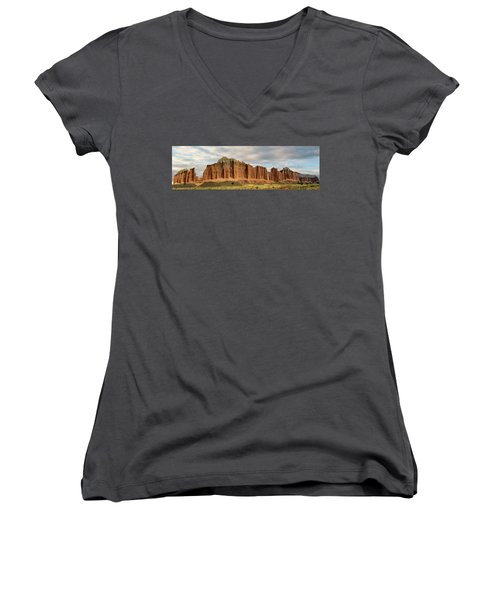 Cathedral Valley Wall Women's V-Neck T-Shirt (Junior Cut) by Gary Warnimont