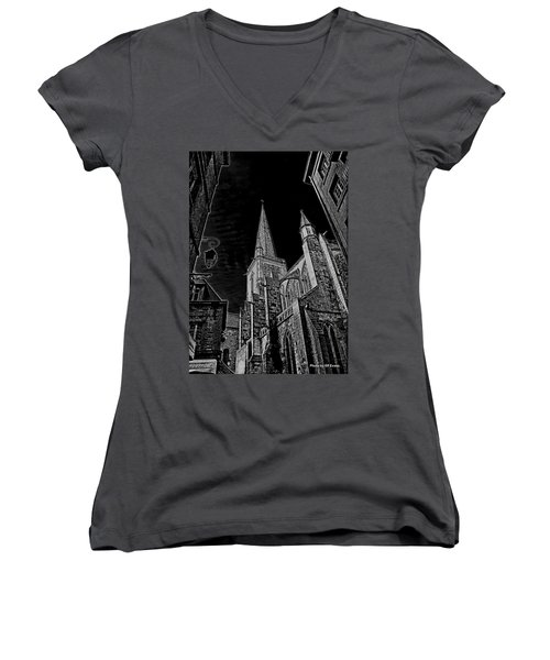 Women's V-Neck T-Shirt featuring the photograph Cathedrale St/. Vincent by Elf Evans