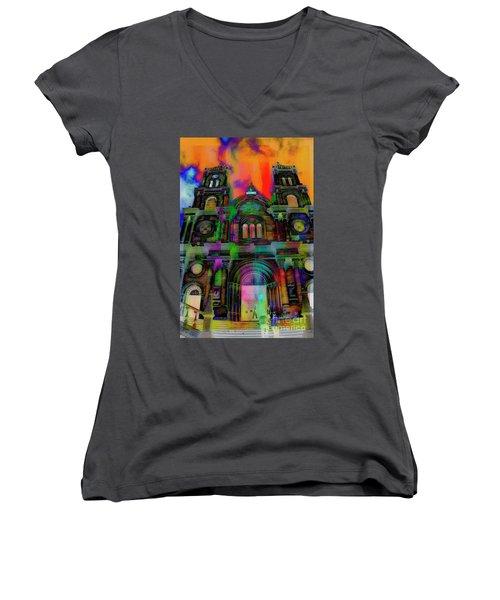 Women's V-Neck T-Shirt (Junior Cut) featuring the photograph Catholic Church At Chordeleg, Ecuador by Al Bourassa