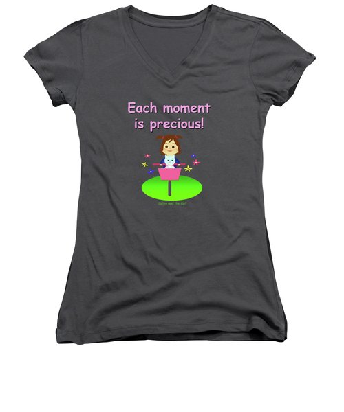 Cathy And The Cat Enjoy Each Moment Women's V-Neck