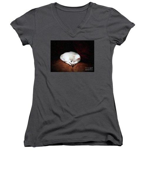 Women's V-Neck T-Shirt (Junior Cut) featuring the photograph Catnap by John Kolenberg
