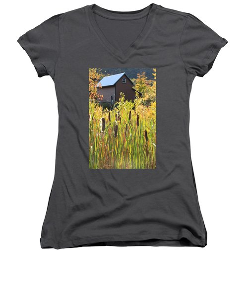 Cattails And Barn Women's V-Neck T-Shirt (Junior Cut) by Roupen  Baker