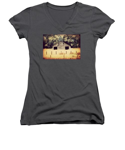 Women's V-Neck T-Shirt (Junior Cut) featuring the photograph Hwy 3 Barn by Julie Hamilton
