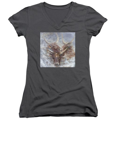 Cattle In The Mist Women's V-Neck (Athletic Fit)