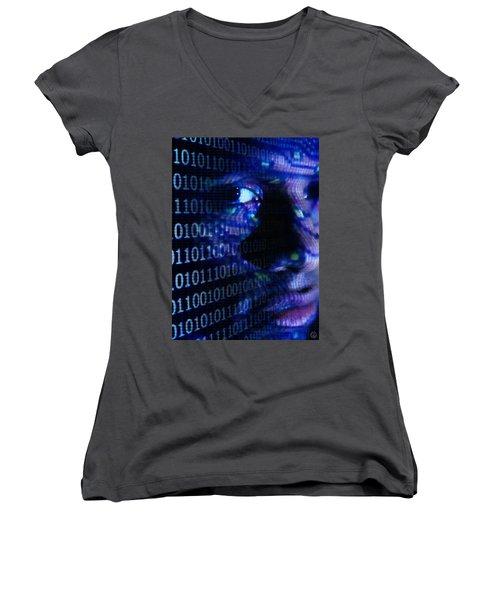 Women's V-Neck T-Shirt (Junior Cut) featuring the digital art Caught In The Net by Gun Legler