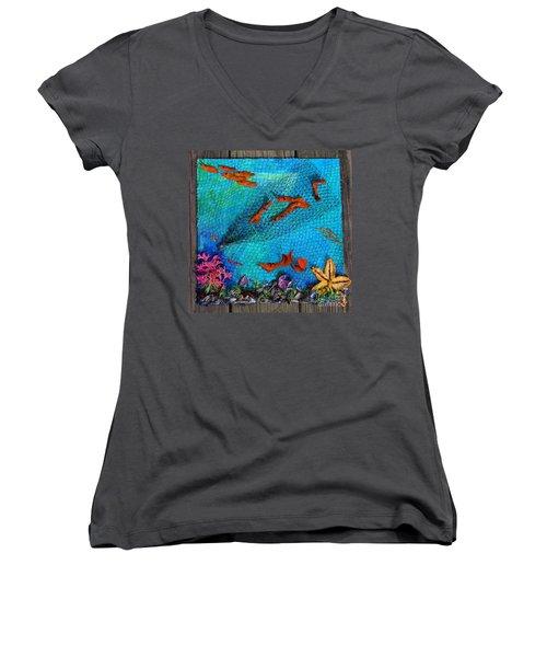 Caught Not Caught Women's V-Neck T-Shirt (Junior Cut) by Lori Kingston