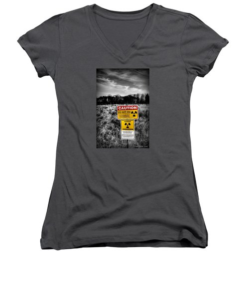 Women's V-Neck T-Shirt featuring the photograph Caution by Michaela Preston