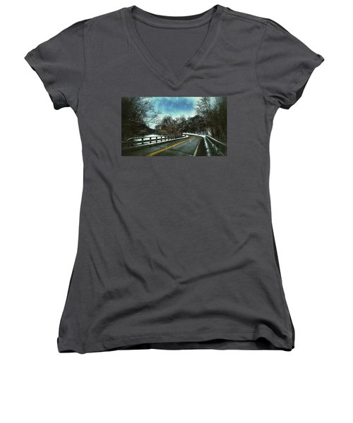 Women's V-Neck featuring the photograph Caution Two by Al Harden