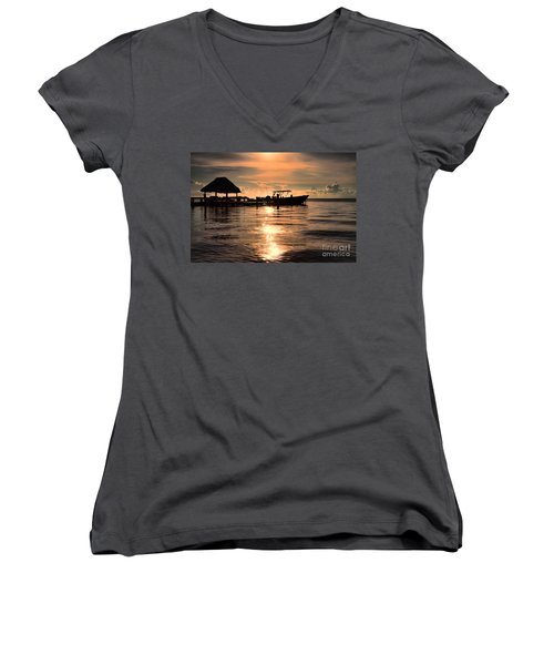 Women's V-Neck T-Shirt (Junior Cut) featuring the photograph Caye Caulker At Sunset by Lawrence Burry