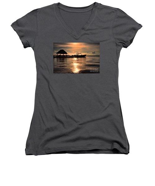Caye Caulker At Sunset Women's V-Neck T-Shirt (Junior Cut) by Lawrence Burry