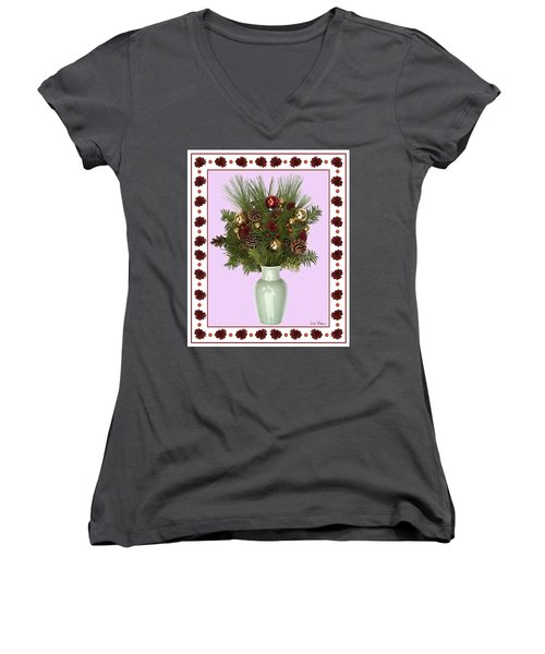Women's V-Neck T-Shirt (Junior Cut) featuring the digital art Celadon Vase With Christmas Bouquet by Lise Winne