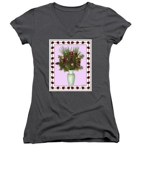 Celadon Vase With Christmas Bouquet Women's V-Neck T-Shirt (Junior Cut) by Lise Winne