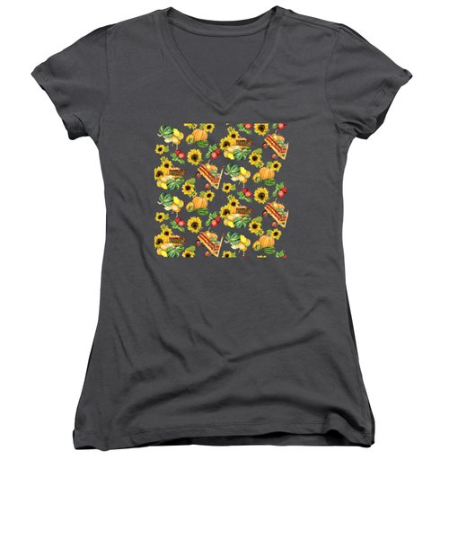 Celebrate Abundance Harvest Half Drop Repeat Women's V-Neck T-Shirt