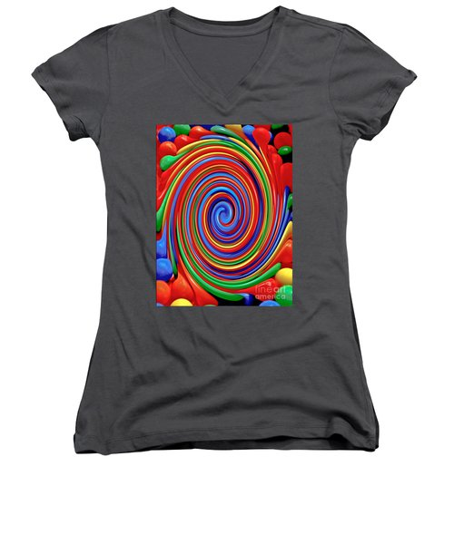 Celebrate Life And Have A Swirl Women's V-Neck T-Shirt (Junior Cut) by Carol F Austin