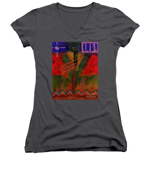 Women's V-Neck T-Shirt (Junior Cut) featuring the painting Celebrate Life by Angela L Walker