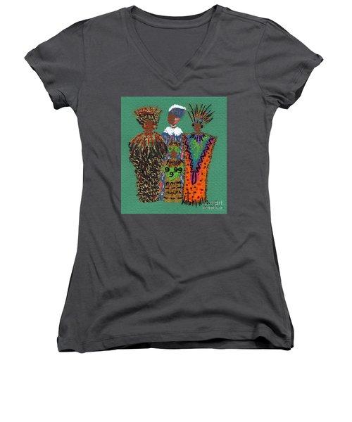 Women's V-Neck T-Shirt (Junior Cut) featuring the mixed media Celebration II by Angela L Walker