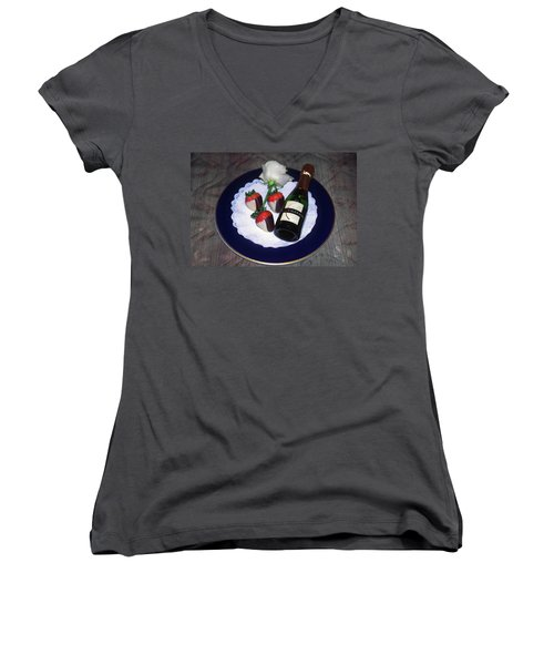 Women's V-Neck T-Shirt (Junior Cut) featuring the photograph Celebration Plate by Sally Weigand