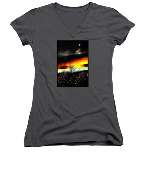 Women's V-Neck T-Shirt (Junior Cut) featuring the photograph Celestial Tsunamis by Susanne Still