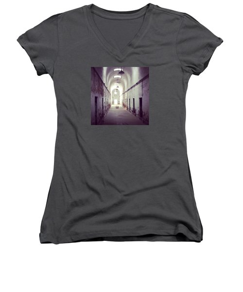 Cell Block Eastern State Penitentiary Women's V-Neck T-Shirt (Junior Cut) by Sharon Halteman