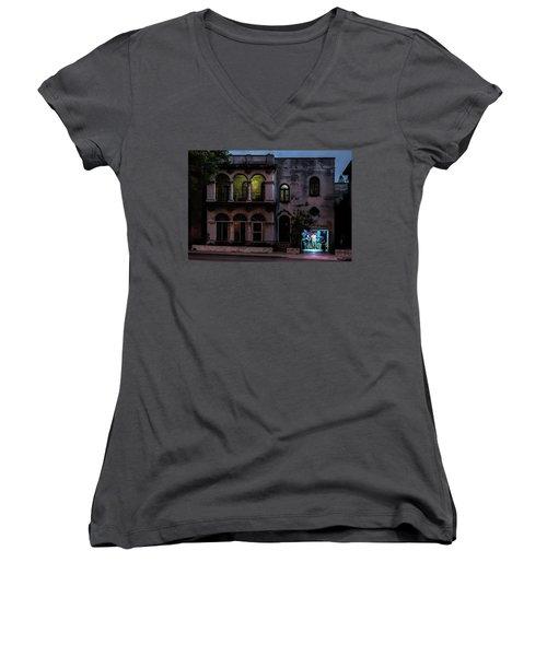 Women's V-Neck T-Shirt (Junior Cut) featuring the photograph Cell Phone Shop Havana Cuba by Charles Harden