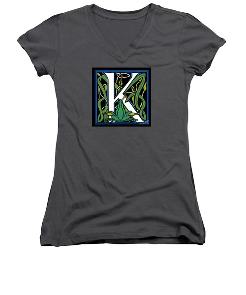 Women's V-Neck T-Shirt (Junior Cut) featuring the digital art Celt Frog Letter K by Donna Huntriss