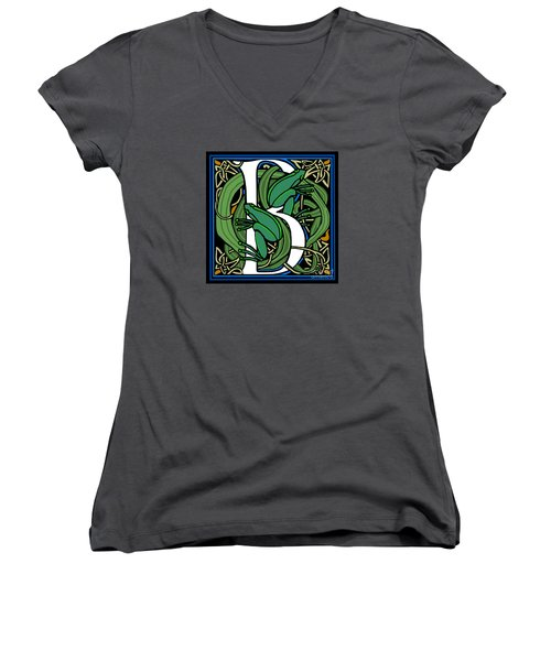 Celt Frogs Letter B Women's V-Neck T-Shirt (Junior Cut) by Donna Huntriss