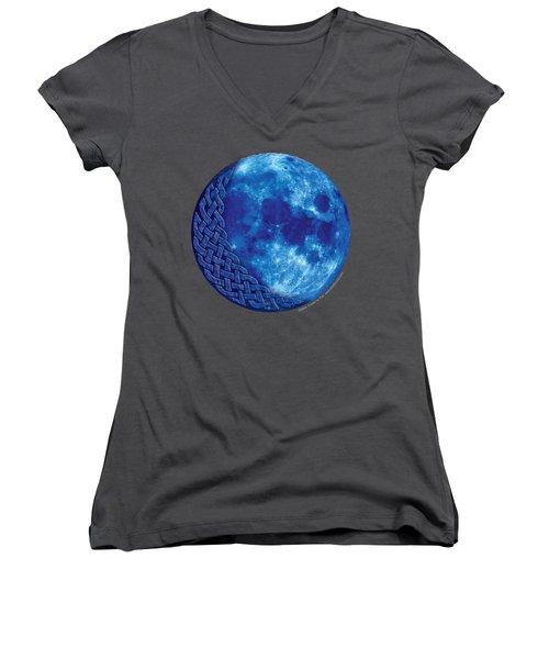Celtic Blue Moon Women's V-Neck T-Shirt (Junior Cut) by Kristen Fox