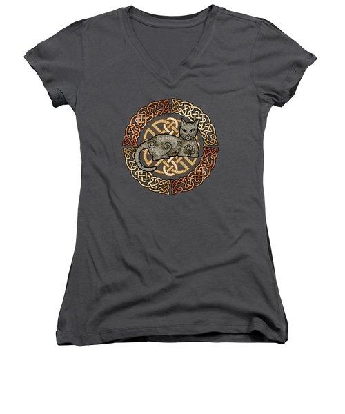 Women's V-Neck T-Shirt (Junior Cut) featuring the mixed media Celtic Cat by Kristen Fox