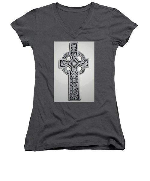 Celtic Cross Women's V-Neck (Athletic Fit)