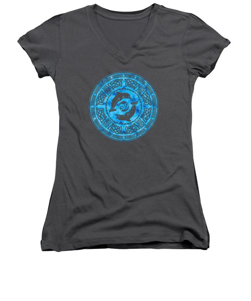 Women's V-Neck T-Shirt (Junior Cut) featuring the mixed media Celtic Dolphins by Kristen Fox