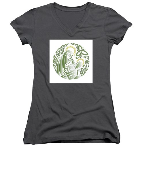Celtic Green Madonna Women's V-Neck T-Shirt