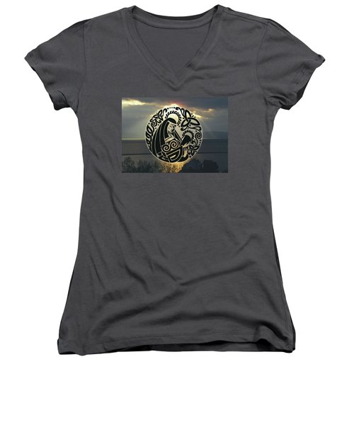 Celtic Madonna Over Sunset Women's V-Neck T-Shirt