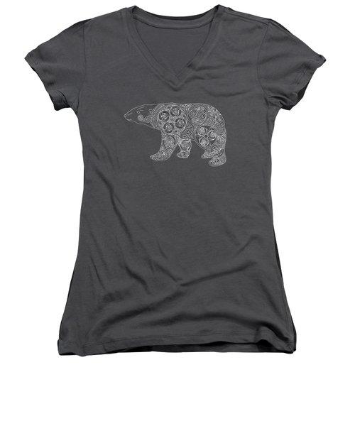 Celtic Polar Bear Women's V-Neck T-Shirt (Junior Cut) by Kristen Fox