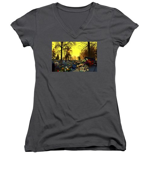 Cemetery In Feast Of The Dead Women's V-Neck (Athletic Fit)