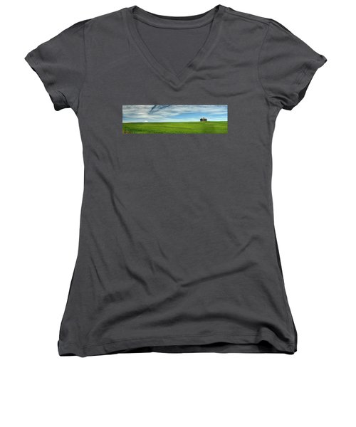 Center Ridge Schoolhouse With Mt. Hood Women's V-Neck