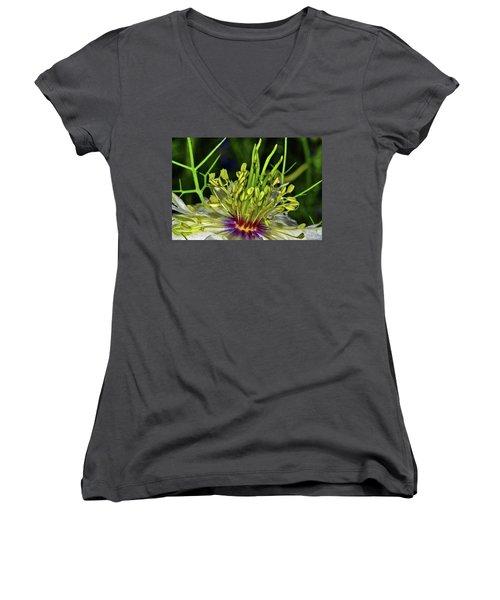 Centerpiece - Love In The Mist Macro Women's V-Neck T-Shirt (Junior Cut) by George Bostian