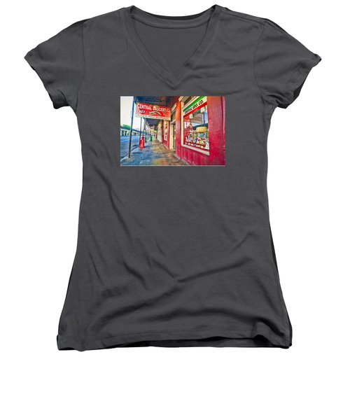 Women's V-Neck T-Shirt (Junior Cut) featuring the photograph Central Grocery And Deli In The French Quarter by Andy Crawford