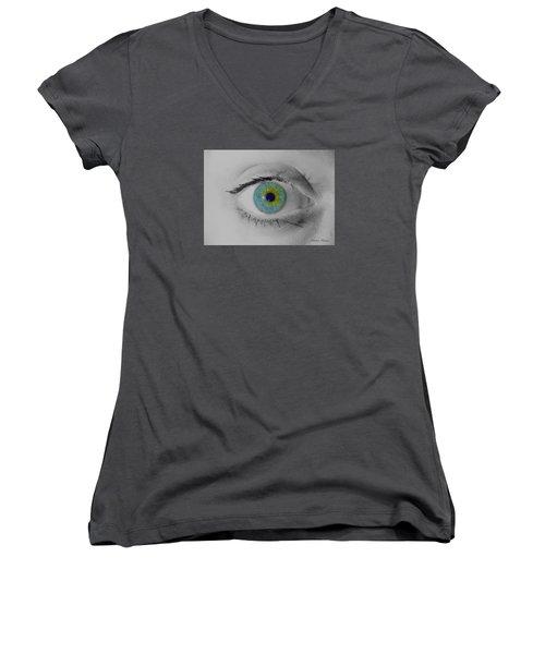 Central Heterochromia  Women's V-Neck (Athletic Fit)