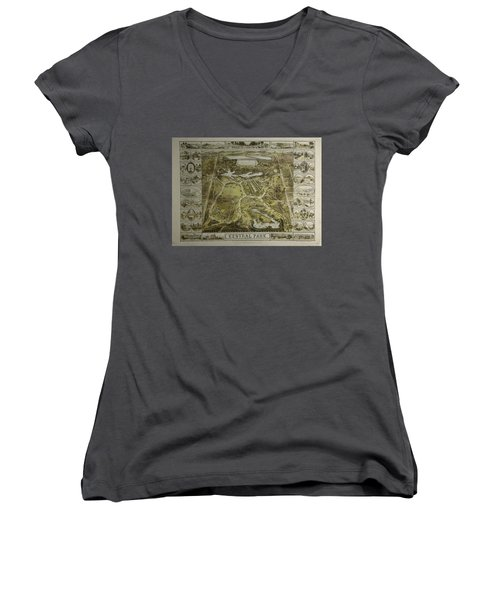 Women's V-Neck T-Shirt (Junior Cut) featuring the photograph Central Park 1863 by Duncan Pearson